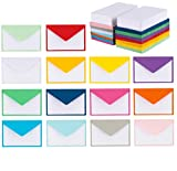 140 Mini Envelopes with White Blank Note Cards, Colorful Mini...