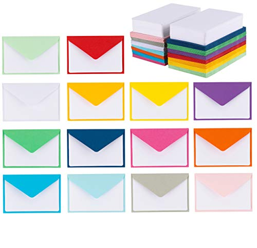 140 Mini Envelopes with White Blank Note Cards, Colorful Mini Envelopes 14 Assorted Colors 4