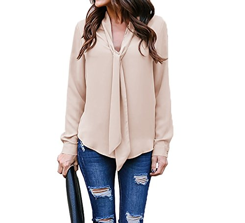 Meeshine Womens Casual Office Chiffon Bow Tie Neck Long Sleeve V-Neck Shirt Solid Blouse Tops