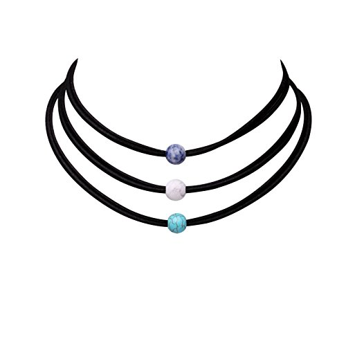 3PCS Natural Turquoise Bead Choker Necklace Set Handmade Leather Wrap Bracelet for Women Girls (Silver And Natural Leather Bracelet)