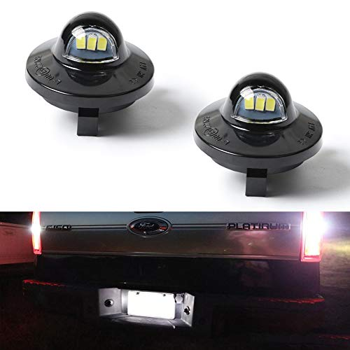 License Plate Light, GemPro 2pcs Xenon White LED License Plate Lamp Assemly For Ford F-150 F-250 F-350 F-450 F-550 Superduty Pickup Truck Ranger Explorer Expedition Excursion Lincoln Bronco Heritage (Pickup 1999 Ford F-250)