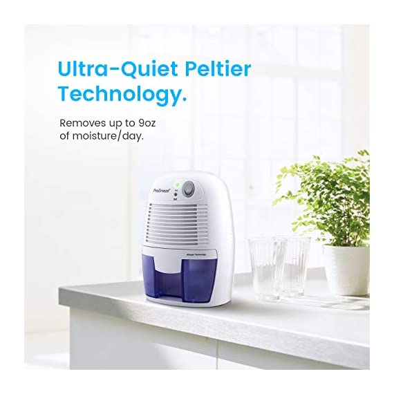 Pro Breeze Electric Mini Dehumidifier, 1200 Cubic Feet (150 sq ft), Compact and Portable for High Humidity in Home, Kitchen, Bedroom, Bathroom, Basement, Caravan, Office, RV, Garage with Auto Shut Off 2 Small & Compact: Lightweight, Compact and Portable, Capable of removing up to 9 ounces of water per day with a 16-ounce water tank capacity. Ideal for rooms up to 1200 cubic feet (150 sq ft). Only works effectively above 15°C / 59°F. Auto Shut-Off: When full the dehumidifier will automatically shut off and the LED light will turn-on indicating the water tank needs draining. Simply empty the water tank and place it back into the dehumidifier. Ultra-Quiet & Energy Efficient: Whisper quiet operation in bedrooms, bathrooms and offices, at an output of 23W per hour, which means only using 0.55kW after running for 24 hours.