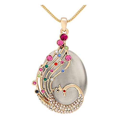 Crystal Peacock Long Sweater Chain Pendant Necklace Korean Jewelry ()
