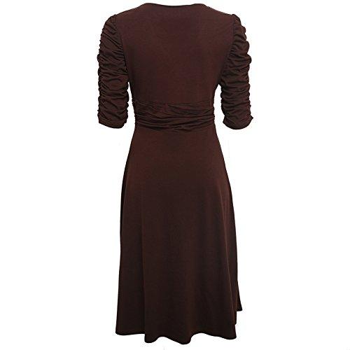 Dress Dantiya Cocktail V Ruched 4 Neck Women's Casual Brown Sleeve 3 Waist faqfFwx