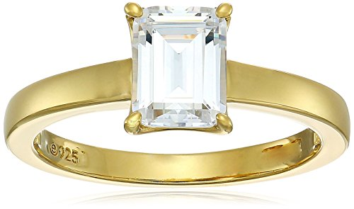 Classic Yellow Prong Gold - Yellow-Gold-Plated Silver Emerald-Cut Solitaire Ring made with Swarovski Zirconia, Size 7