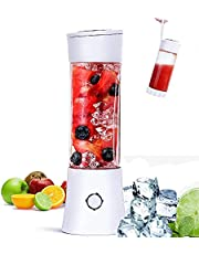 USB Mini Juicer Blender,Fruit Juice Blender with 6 Blades 2x2000mAh Power,480ml Portable Juicer Mixer for Shake and Smoothies