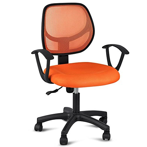 Yaheetech Mid-Back Mesh Office Chair Swivel Task Chair Adjustable Computer Desk Chair Tilt Ergonomic Chair with Arms Orange