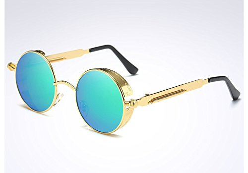Ronda Vintage mujer de de Steampunk gold oro UV400 Gafas sol verde las gafas green Sunglasses TL A8vwa