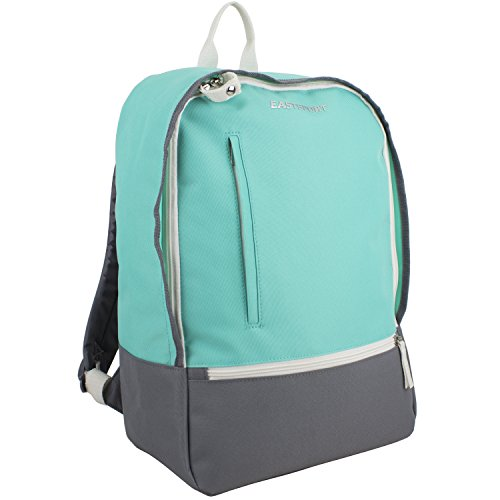 Eastsport Everyday Backpack with Secure Zipper Pulls, Turquoise/Gray