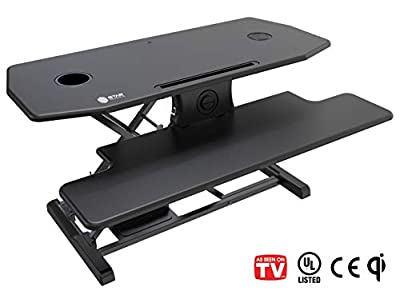 Star Ergonomics Electric Table Top Standing Desk Converter w/Qi Certified Wireless Charging Pad (SE09E2WB)