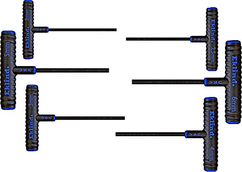 EKLIND 64606 Power-T Handle Hex Key Allen Wrench - 6pc Set Metric MM Sizes 2-6 (6In Shaft)
