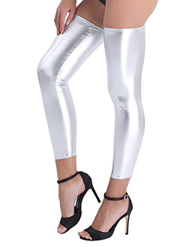 YiZYiF Women's Shiny Leather Metallic Footless Thigh-High Stocking Leg Wraps Silver One Size (Socks Knee Silver High)