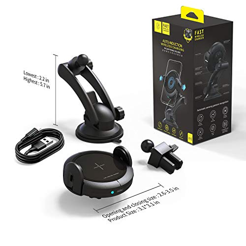 KOAKUMA Wireless Car Charger Mount, Automatic Clamping Car Mount Air Vent Phone Holder with 15W QI Fast Charging Compatible with iPhone X/XS Max/XS/XR/8/8 Plus, Samsung Galaxy S10/S10+/S9/S9+/Note 9/8 by KOAKUMA (Image #7)