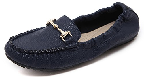 Women's Casual Closed Toe Driving Moccasin Flat Shoes, Comfy Navy Blue Pleather Metal Buckle Low Top Soft Sole Slip On Horsebit Loafers, Solid Stitching Business Style Spring Fall Prime