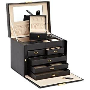 Wolf Designs 280102 Heritage Red Large Jewelry Case with Side Panel Doors Jewelry-Box