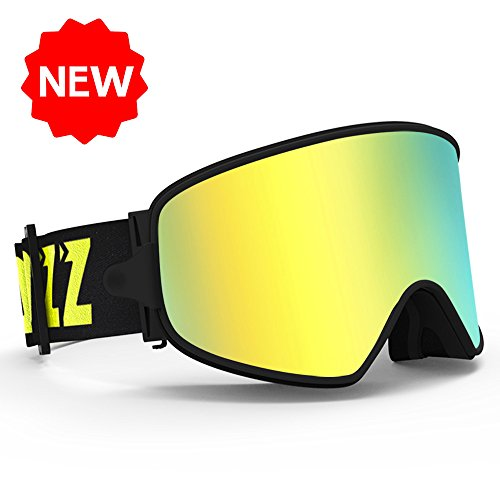 Black Snowmobiles (COPOZZ MX Ski Snow Goggles - 2-in-1 For Any Weather - Magnetic Interchangeable Lens , Triple Lens Anti Fog Frameless - For Women Men Youth Girls Boys Snowboard snowmobile Skiing Black Gold)