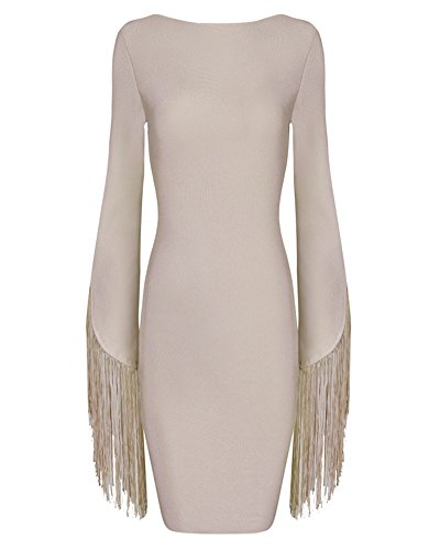 Bodycon Tassels Whoinshop Sleeve Mini Open Dress Back Women's Beige Bandage XxxpwS