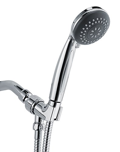 Wassern Handheld Shower Head, High Pressure Rainfull Massage Spa Flexible 60 Stainless Steel Hose Angle Adjustable Bracket 4setting 3 Chrome