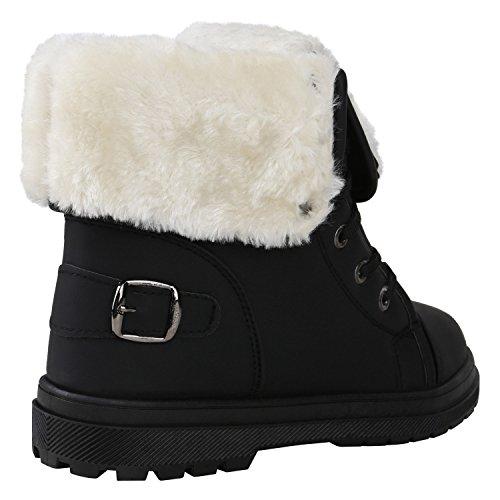 Stiefelparadies Damen Warm Gefütterte Sneakers Sneaker High Winter Schuhe Kunstfell Sportschuhe Turnschuhe Übergrößen Gr. 36-42 Flandell Schwarz Schnallen