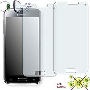 2 x Película de protección de pantalla DISAGU ClearScreen para Samsung Galaxy S5 Mini antibacterial, filtro BlueLightCut película de protección