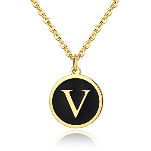 REVEMCN Stainless Steel Alphabet and Bible Verse Proverbs 4:23 Pendant Necklace for Men Women with Keyring and 22'' Chain (Gold-Tone: V)