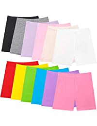 12 Mixed Color Girls Dance Shorts, Bike Shorts for Playgrounds and Gymnastics, Breathable and Safe Active Shorts
