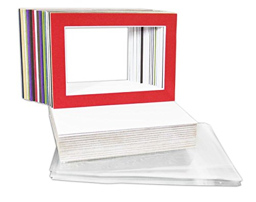 Golden State Art, Pack of 25 Mix Pre-Cut 5x7 Picture Mat for 4x6 Photo with White Core Bevel Cut Mattes Sets. Includes 25 High Premier Acid Free Bevel Cut Matts & 25 Backing Board & 25 Clear Bags ()