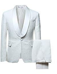 "<span class=""a-offscreen"">[Sponsored]</span>Men's 1 Button 2 Piece White Tuxedo Shawl Collar Skinny Dress"
