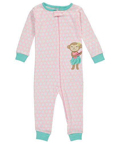 Carter's Baby Girls' 1-Piece Snug Fit Footless Cotton Pajamas (18 Months, Pink/Hula Monkey)