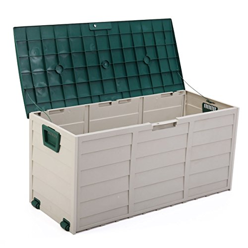 LAZYMOON Outdoor Deck Box Storage Bench Garden Patio Backyard Tool Equipment Container Utility,Gray/Green by LAZYMOON
