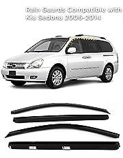 Rain Guards for Kia Sedona 2006-2014 (4PCs) Smoke Tinted Tape-On Style
