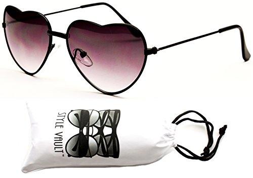 Kd61-vp Kids Girls (2~8yr) Heart Love Shape Sunglasses (XOSD Black-Smoked, - Year 8 Sunglasses Old