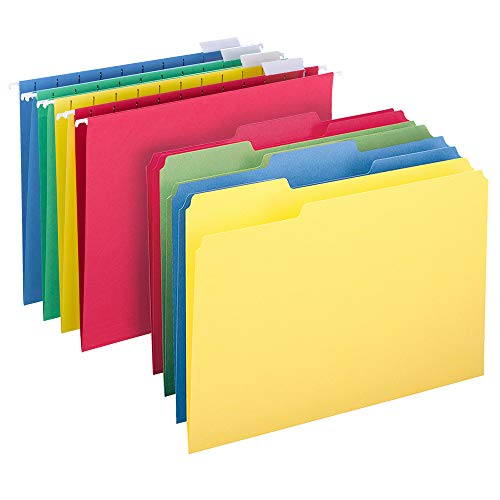 Smead Hanging File Folder Kit, Letter Size, Set of 24 Hanging File Folders and 24 Top Tab File Folders, Assorted Colors (Red, Yellow, Blue, Green) by Smead (Image #6)