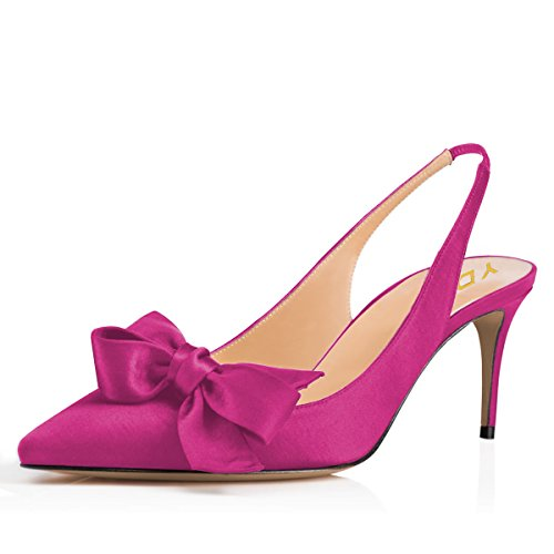 YDN Women Pointed Toe Slingback Satin Dress Pumps Stiletto Mid Heels Evening Prom Sandals with Bows Fuchsia -