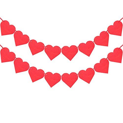 letasy Heart Garland Valentines Day Decorations Banner, Felt Red Heart Decor for Valentines Day Backdrops Wedding Birthday Party Supplies