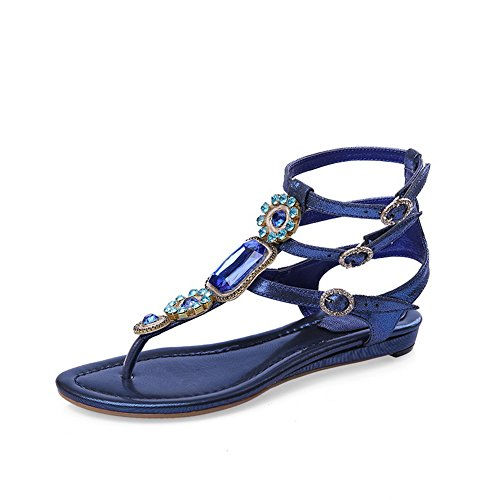 Sheepskin Blue Rhinestones Double Womens 1TO9 Sandals Bead Breasted Pn8Sxa
