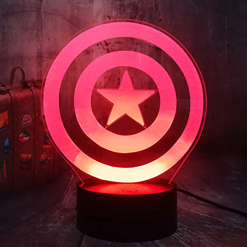 Captain America's Shield Cool Marvel Legends The First Avengers Desk Lamp Acrylic 3D Optical Illusion Night Light Best Gift Light for Kids Birthday Christmas Present Baby Sleep Lamp Room Decor