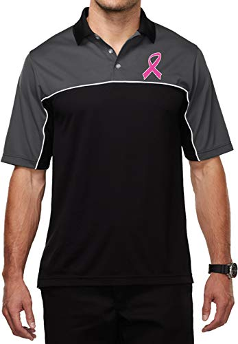 Buy Cool Shirts Breast Cancer Pink Ribbon Pocket Print Mens Moisture Wicking Polo, Charcoal XL