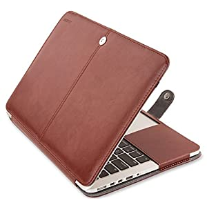 Mosiso PU Leather Case Only for MacBook Pro 13 Inch with Retina Display No CD-Rom (A1502 / A1425, Version 2015 / 2014 / 2013 / end 2012) Book Folio Cover with Stand Function, Brown