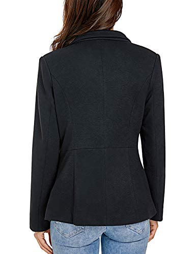 e53d60f02e0 Luyeess Women Black Casual Long Sleeve Open Front Cardigan Office Work Zip  Blazer Suit Large (Fits US 12 - US 14)