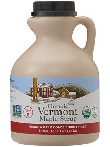 Hidden Springs Organic Vermont Maple Syrup Grade A Dark Robust Formerly Grade B 16 Ounce 1 Pint Family Farms Bpa Free Jug