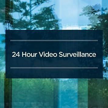 24 Hour Video Surveillance CGSignLab 5-Pack 24x12 Basic Navy Window Cling