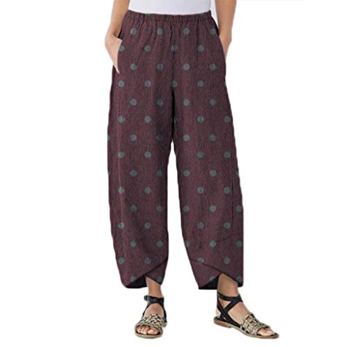 Suma-ma Womens Dot Printed Lantern Pants,Ladies Plus Size Beach Long Trousers Summer Daily Casual Jogger Sweatpants(Purple,XXXL)