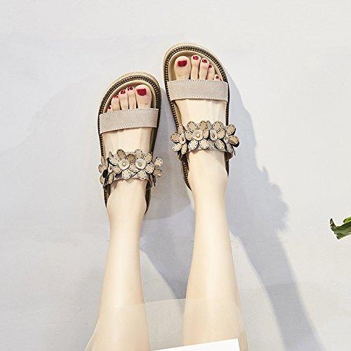 Sandalias amp;QIUMEI Albaricoque Sandalias De Zapatos OME De Playa Playa Calzado Zapatos Sandalias Playa HTnWwxF