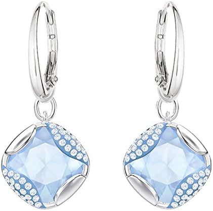 Swarovski Heap Square Pierced Earring, Blue, Rhodium Plating