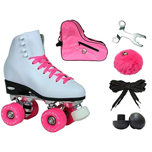 Epic Skates Epic White and Pink Classic High-Top Quad Roller Skate Bundle with Pink Skate Bag, Pompoms and 2 Pair of Laces 11
