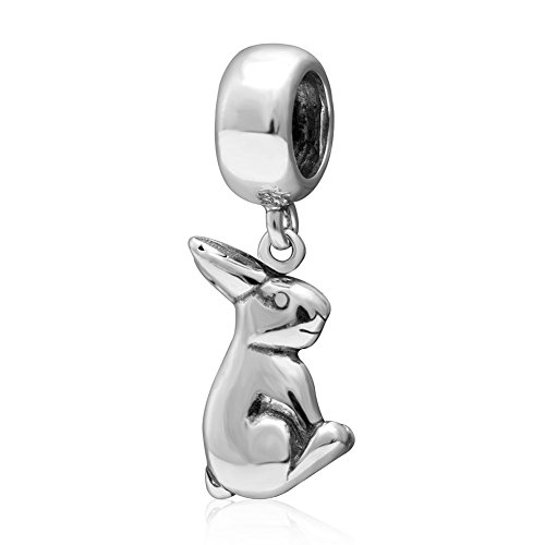 Xuthus Charms Rabbit Antique 925 Sterling Silver Chinese Zodiac Animal Pendant for European Necklaces and Bracelets (Zodiac Rabbit Charm)