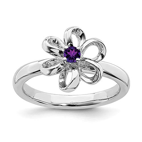 925 Sterling Silver Purple Amethyst Flower Band Ring Size 9.00 Flowers/leaf Stackable Gemstone Birthstone February Fine Jewelry Gifts For Women For Her