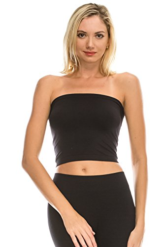 Kurve Medium Length Bandeau Bra Top - UV Protective Fabric UPF 50+ (Made with Love in The USA) Black ()