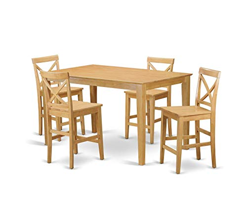 Table Gathering Height Collection - Deluxe Premium Collection 5 Pc Set-Gathering Table and 4 Counter Height Chair 5 Pieces Oak Finish Decor Comfy Living Furniture